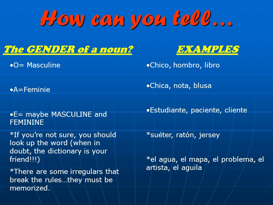 How can you tell… The GENDER of a noun EXAMPLES O= Masculine