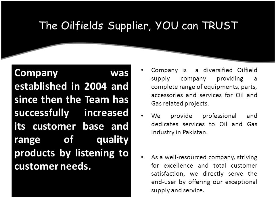The Oilfields Supplier, YOU can TRUST