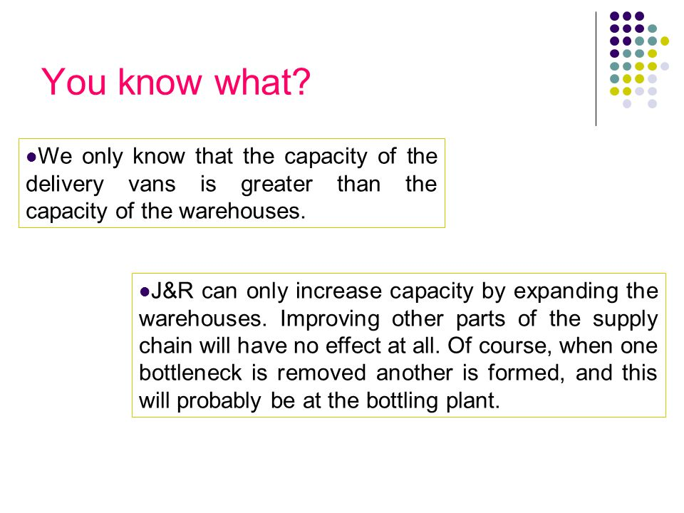 You know what We only know that the capacity of the delivery vans is greater than the capacity of the warehouses.