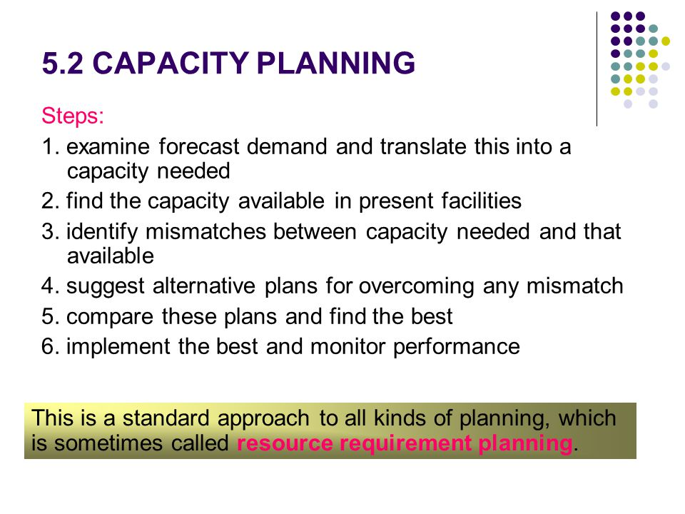 5.2 CAPACITY PLANNING Steps: