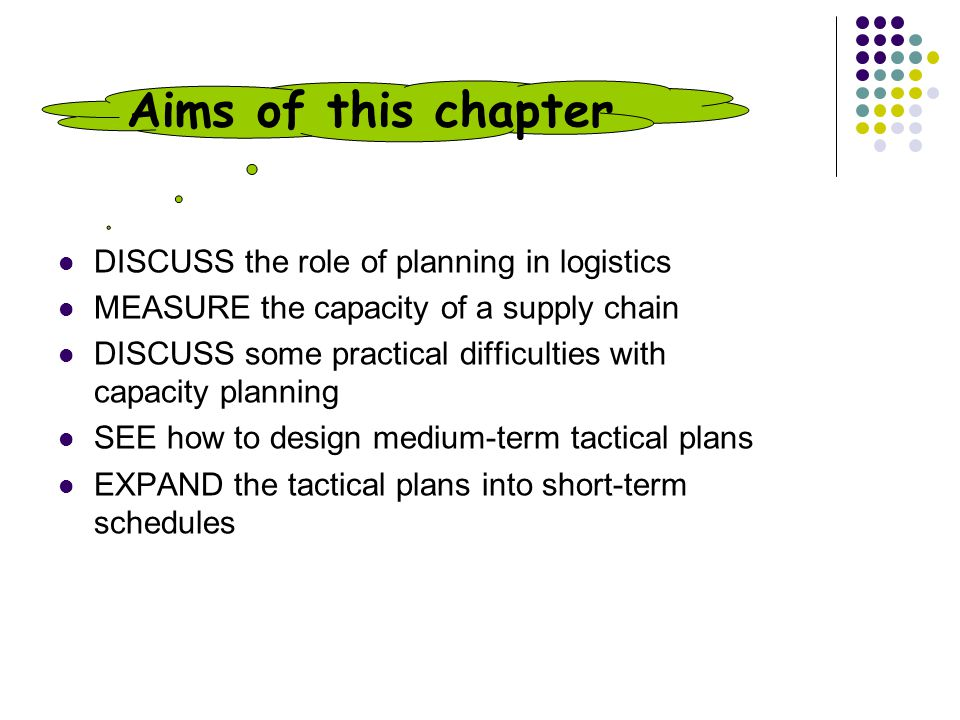 Aims of this chapter DISCUSS the role of planning in logistics