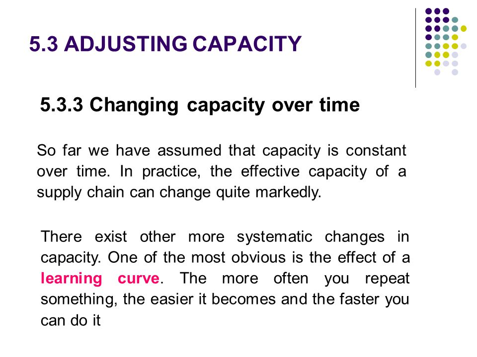 5.3 ADJUSTING CAPACITY 5.3.3 Changing capacity over time