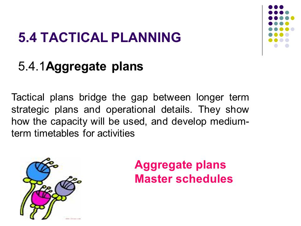 5.4 TACTICAL PLANNING 5.4.1Aggregate plans Aggregate plans