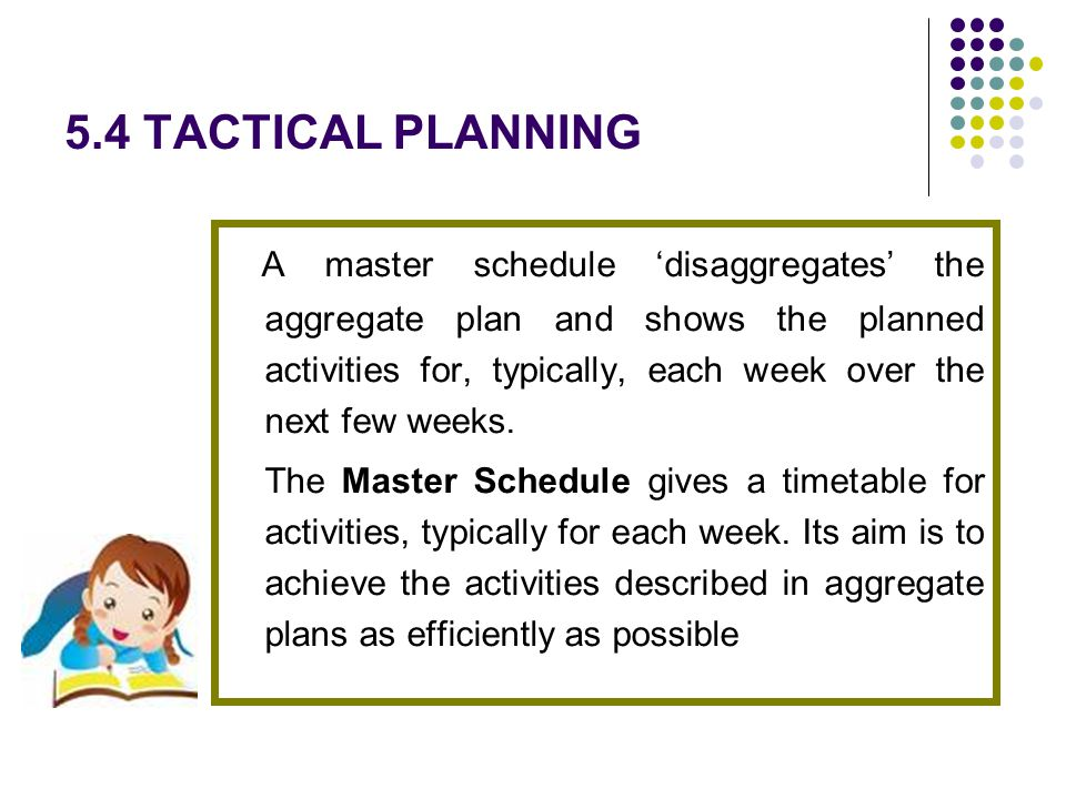 5.4 TACTICAL PLANNING