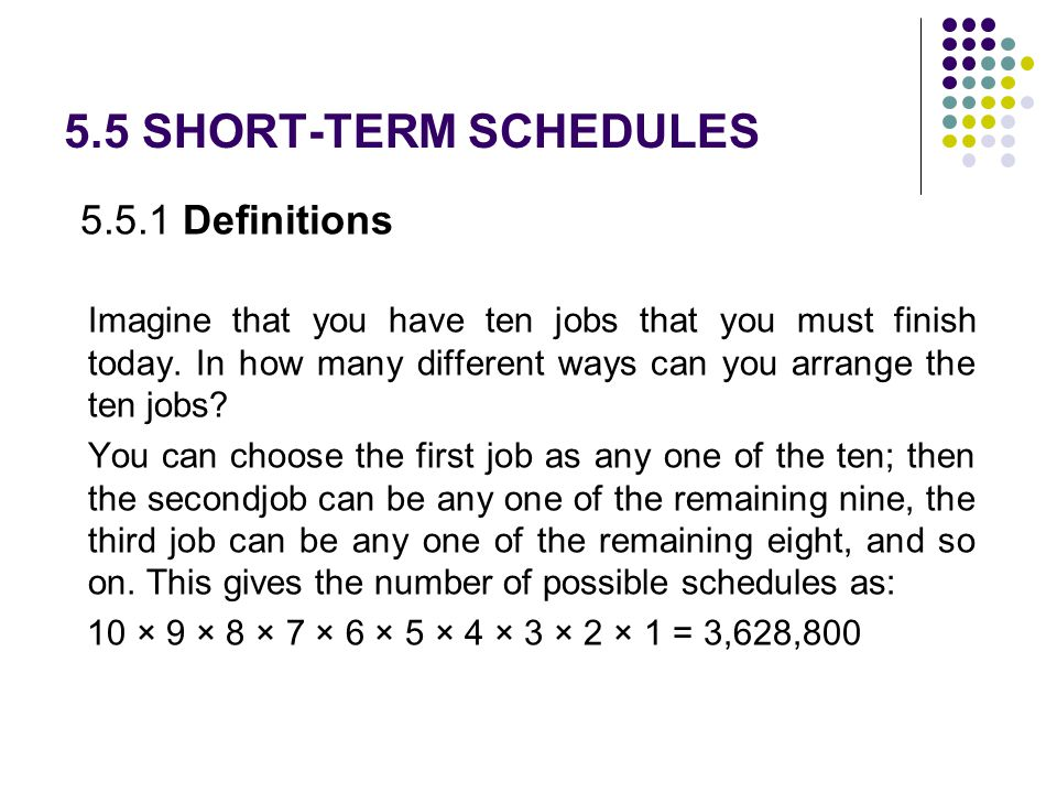 5.5 SHORT-TERM SCHEDULES 5.5.1 Definitions
