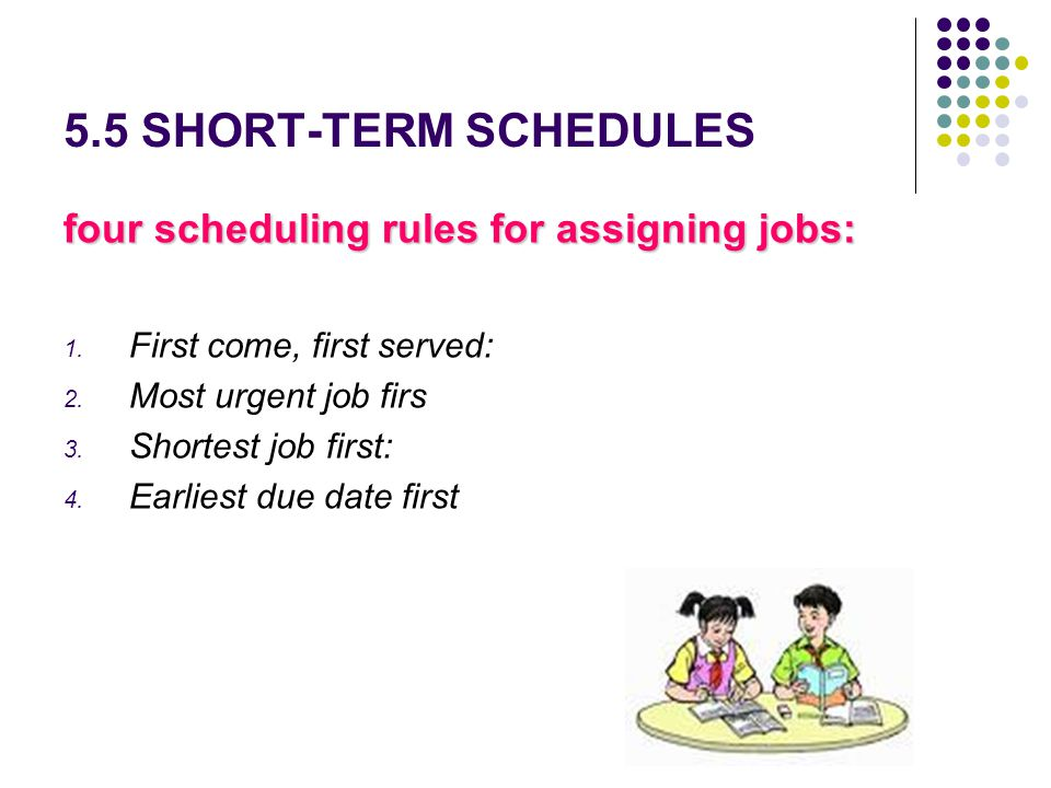 5.5 SHORT-TERM SCHEDULES four scheduling rules for assigning jobs: