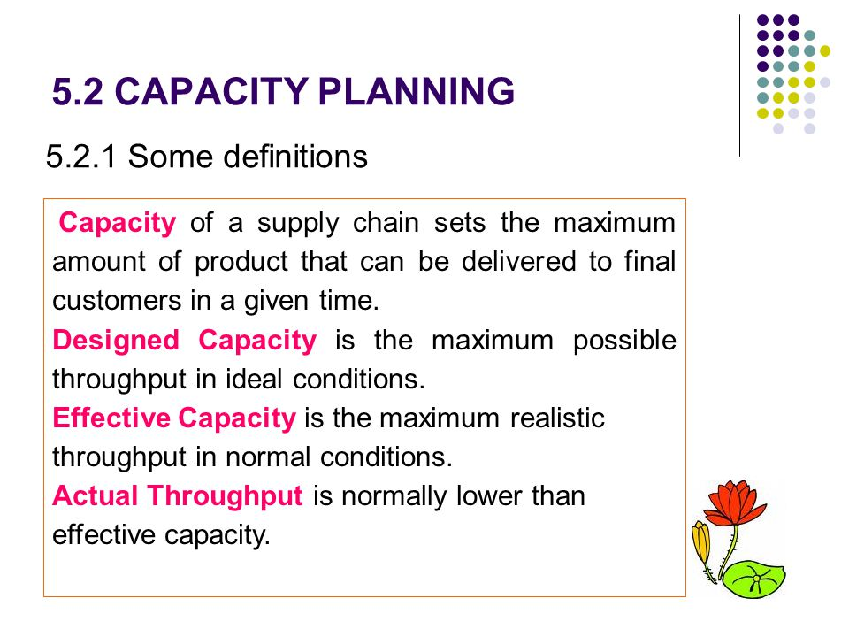 5.2 CAPACITY PLANNING 5.2.1 Some definitions