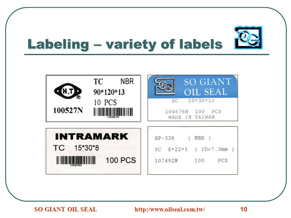 Labeling – variety of labels