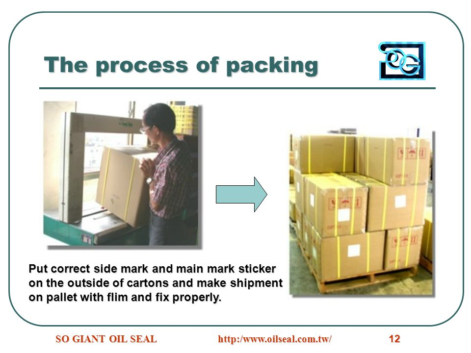 The process of packing Put correct side mark and main mark sticker
