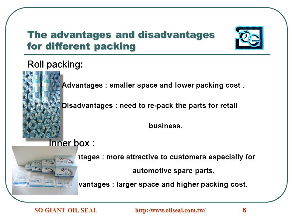 The advantages and disadvantages for different packing