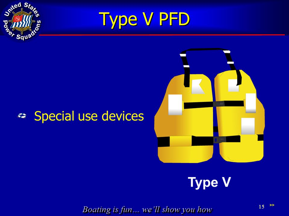 Type V PFD Special use devices Figure 2-6 and Sidebar Table 2-1
