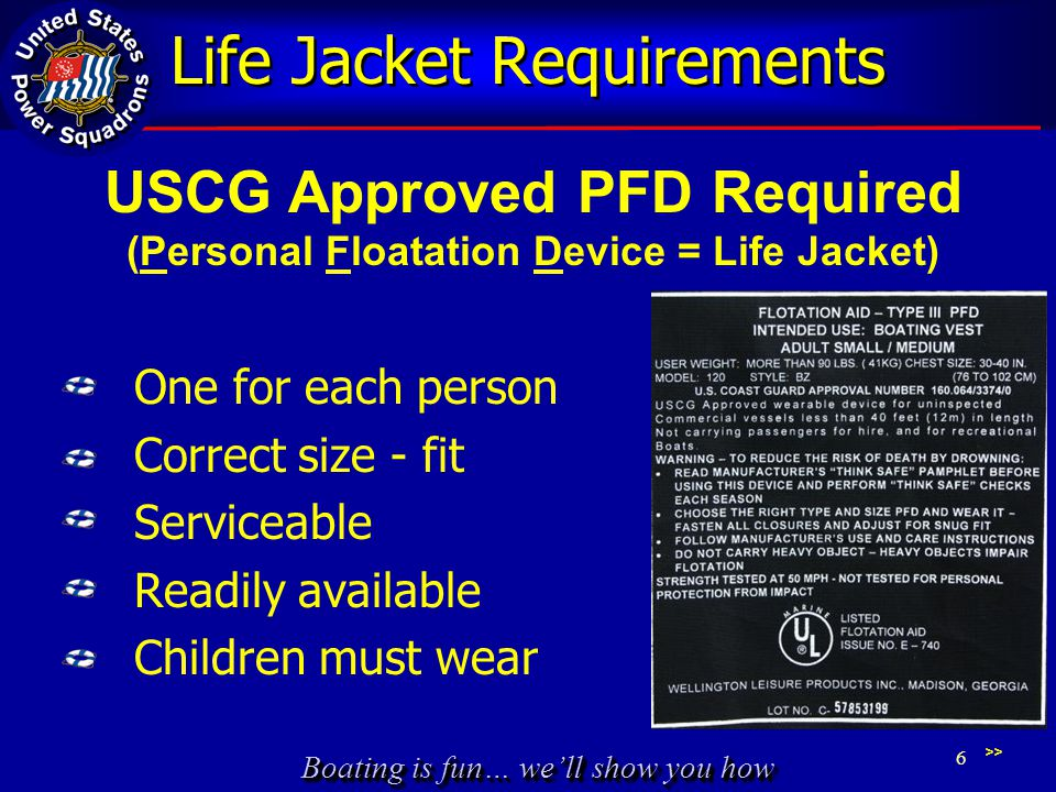 Life Jacket Requirements