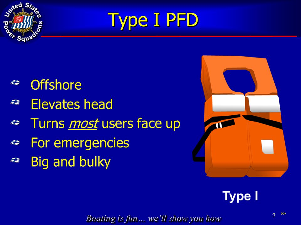 Type I PFD Offshore Elevates head Turns most users face up