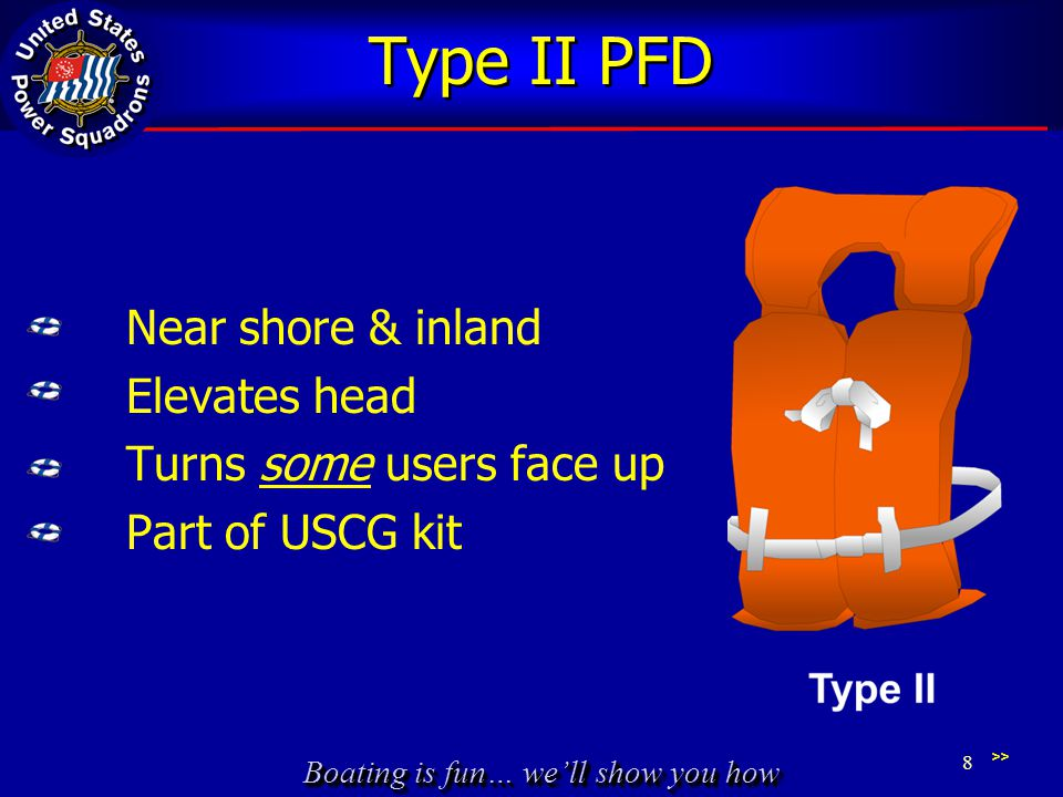 Type II PFD Near shore & inland Elevates head Turns some users face up