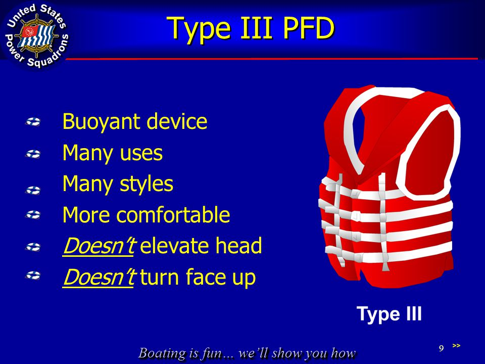Type III PFD Buoyant device Many uses Many styles More comfortable