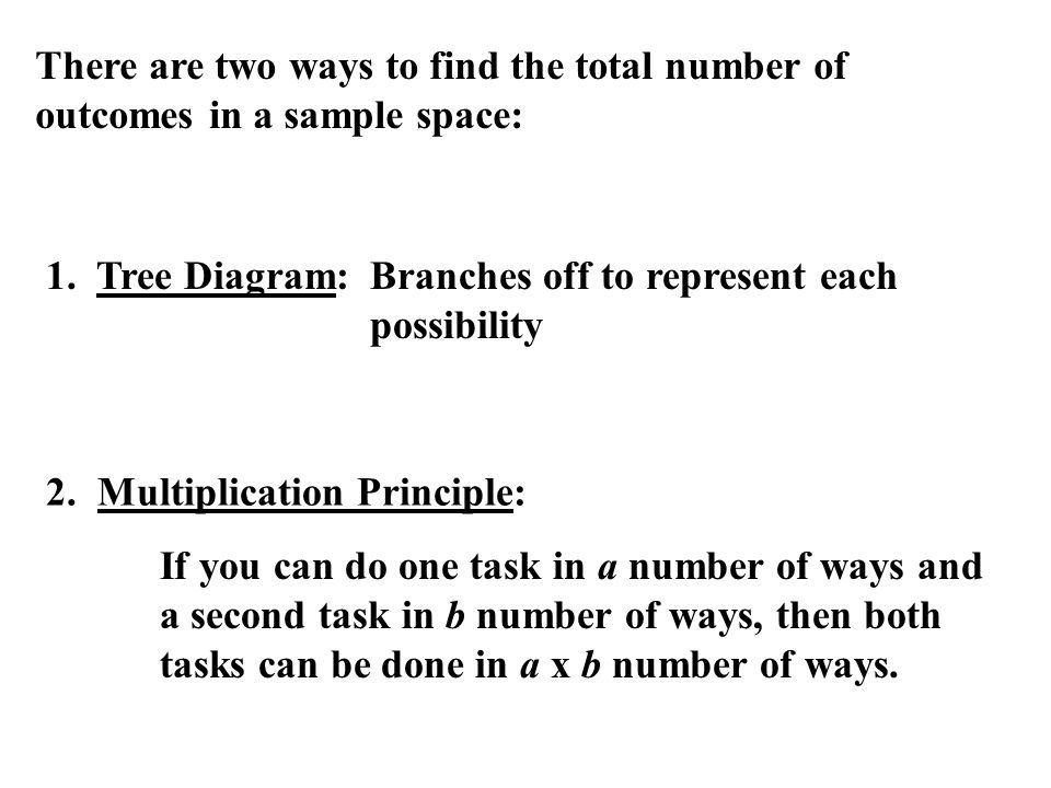 There are two ways to find the total number of outcomes in a sample space: