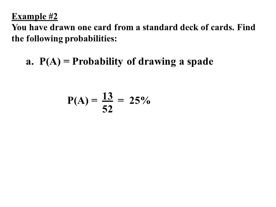 a. P(A) = Probability of drawing a spade