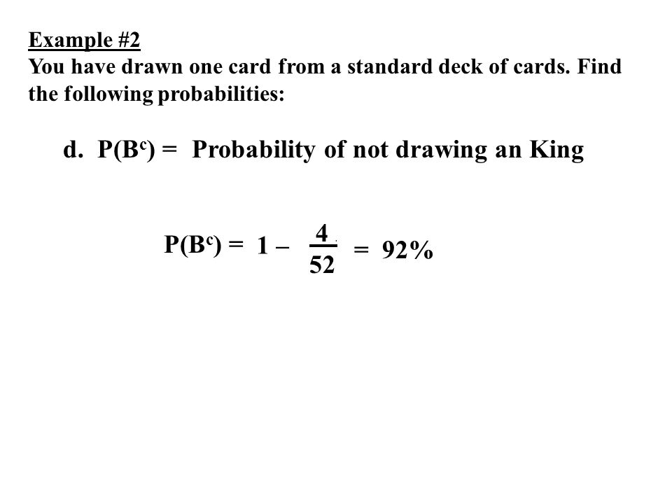 Probability of not drawing an King