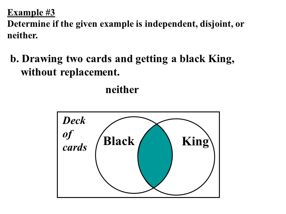 Example #3 Determine if the given example is independent, disjoint, or neither. b. Drawing two cards and getting a black King, without replacement.