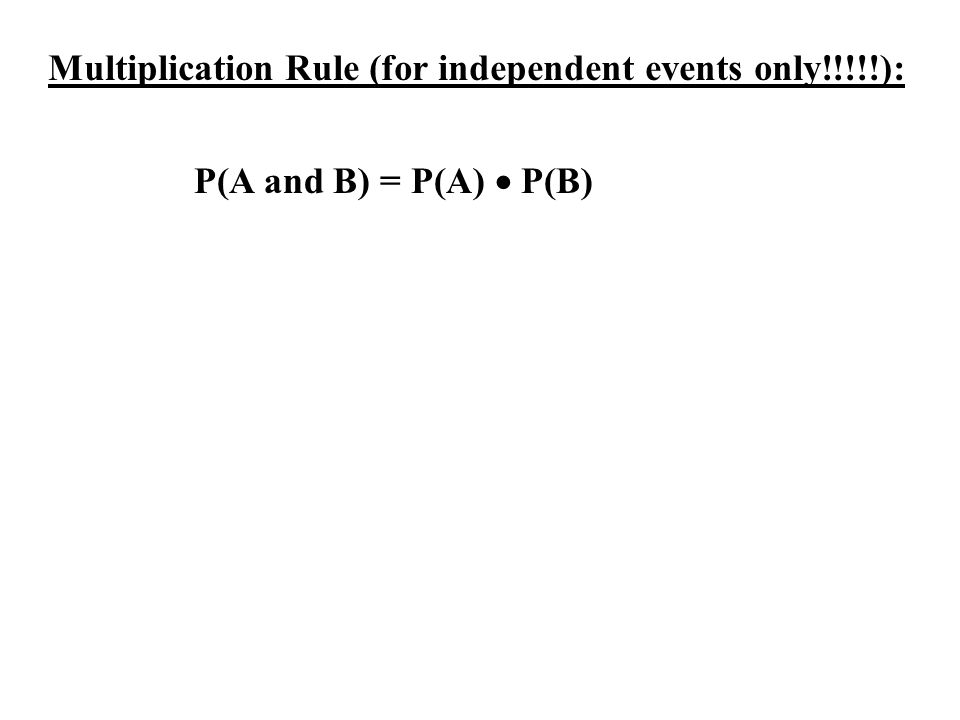 Multiplication Rule (for independent events only!!!!!):