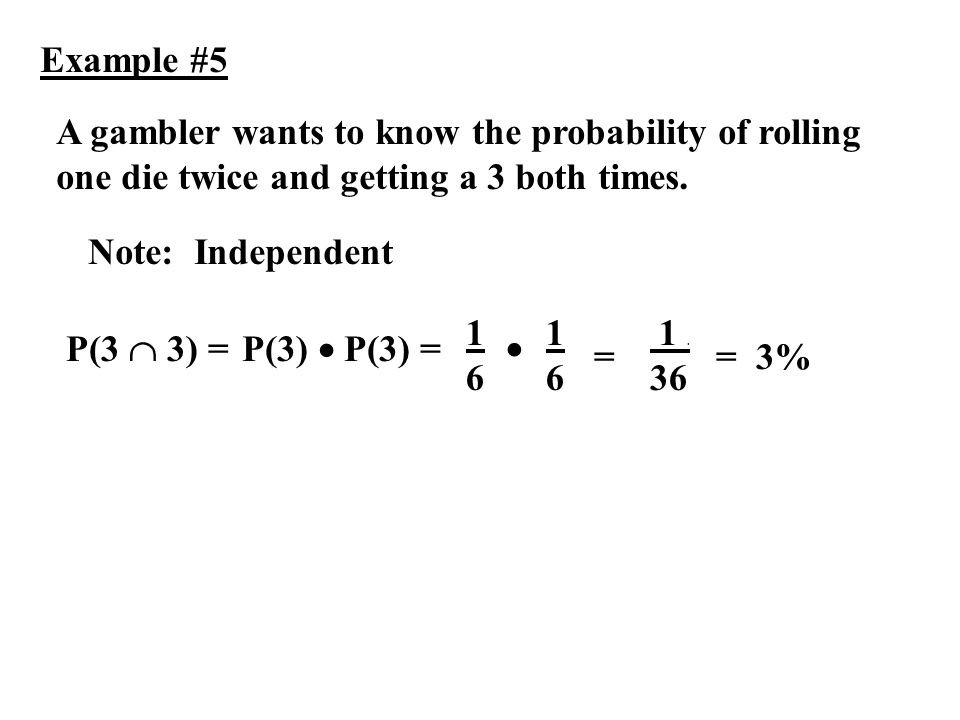 Example #5 A gambler wants to know the probability of rolling one die twice and getting a 3 both times.