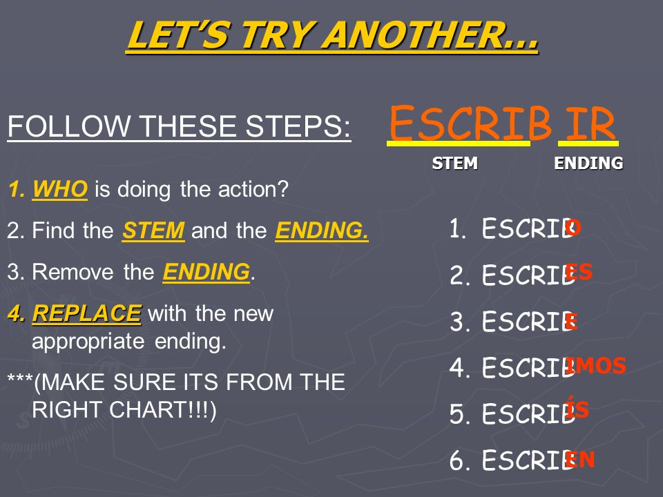 ESCRIB IR LET'S TRY ANOTHER… FOLLOW THESE STEPS: ESCRIB