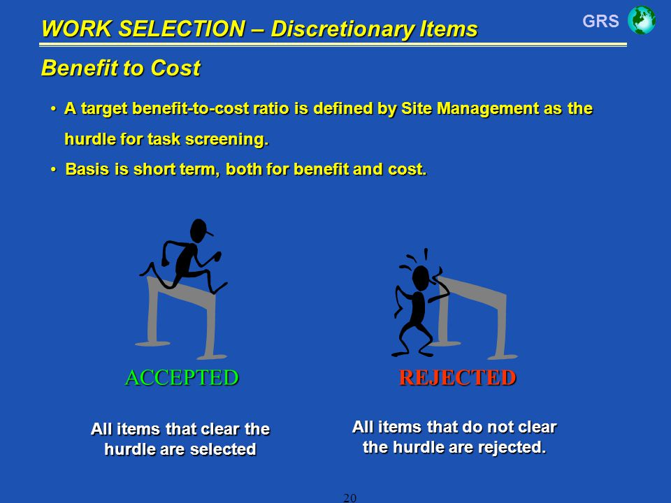 WORK SELECTION – Discretionary Items