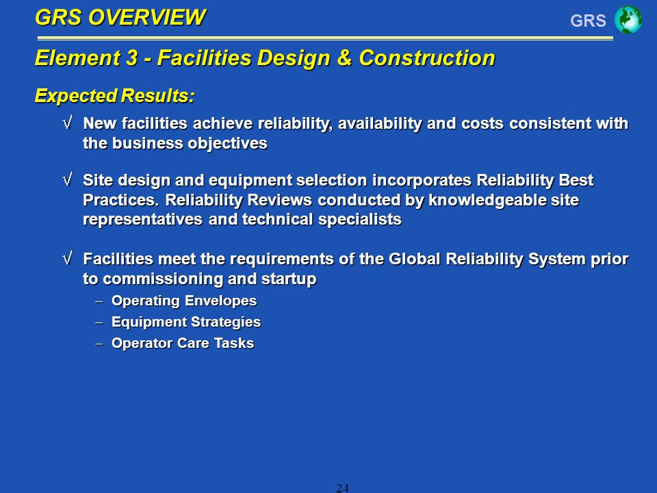 Element 3 - Facilities Design & Construction
