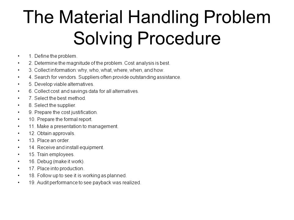The Material Handling Problem Solving Procedure