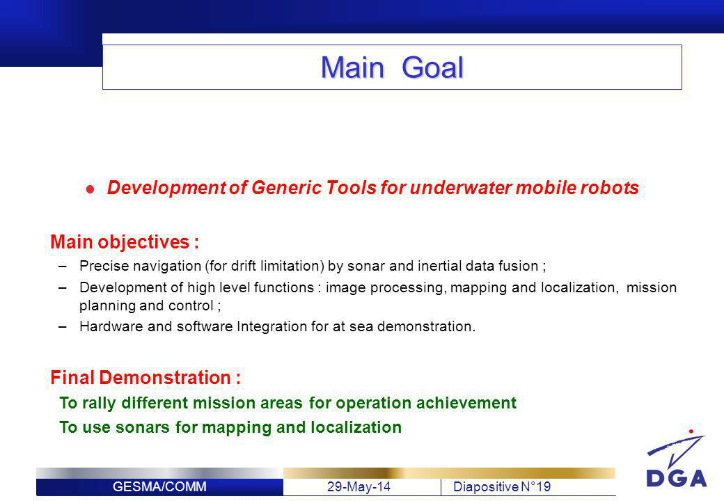 Development of Generic Tools for underwater mobile robots