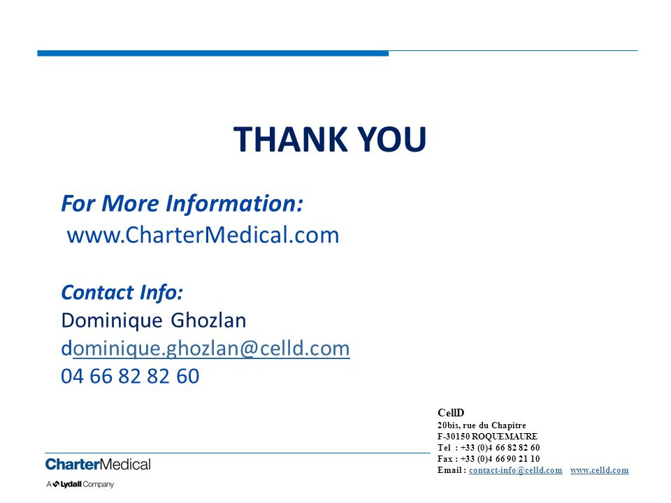 THANK YOU For More Information: www.CharterMedical.com