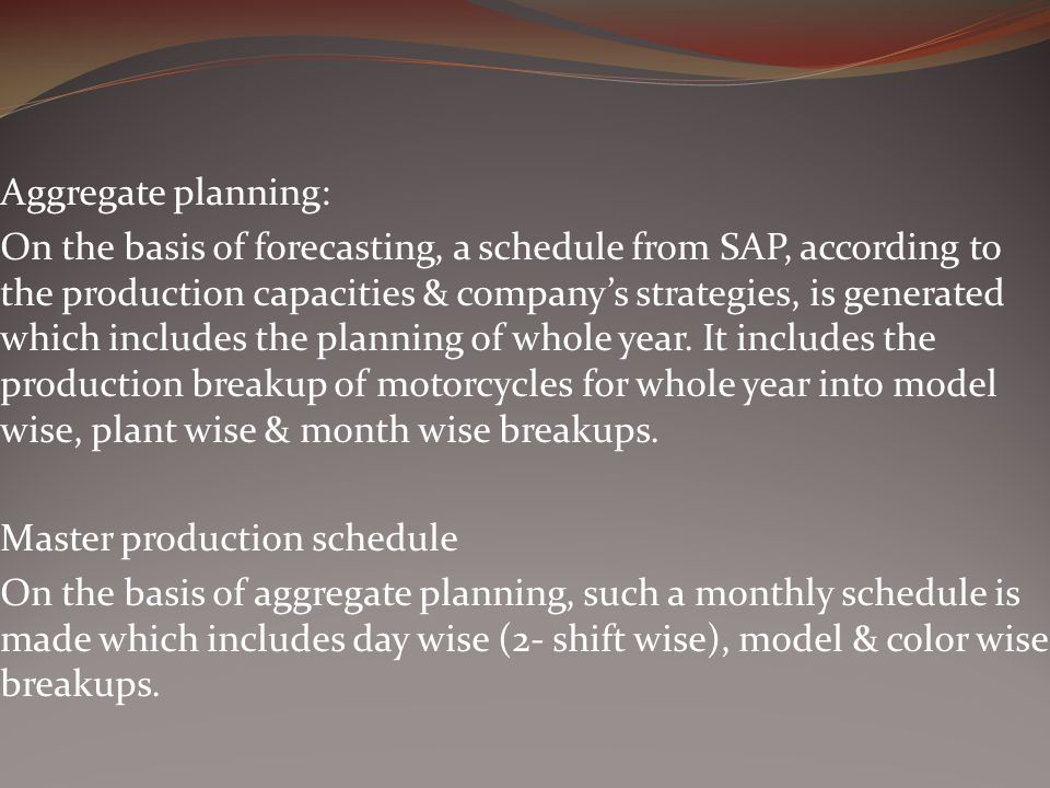 Aggregate planning:
