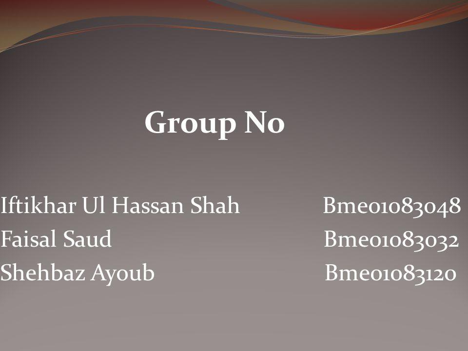 Iftikhar Ul Hassan Shah Bme01083048 Faisal Saud Bme01083032
