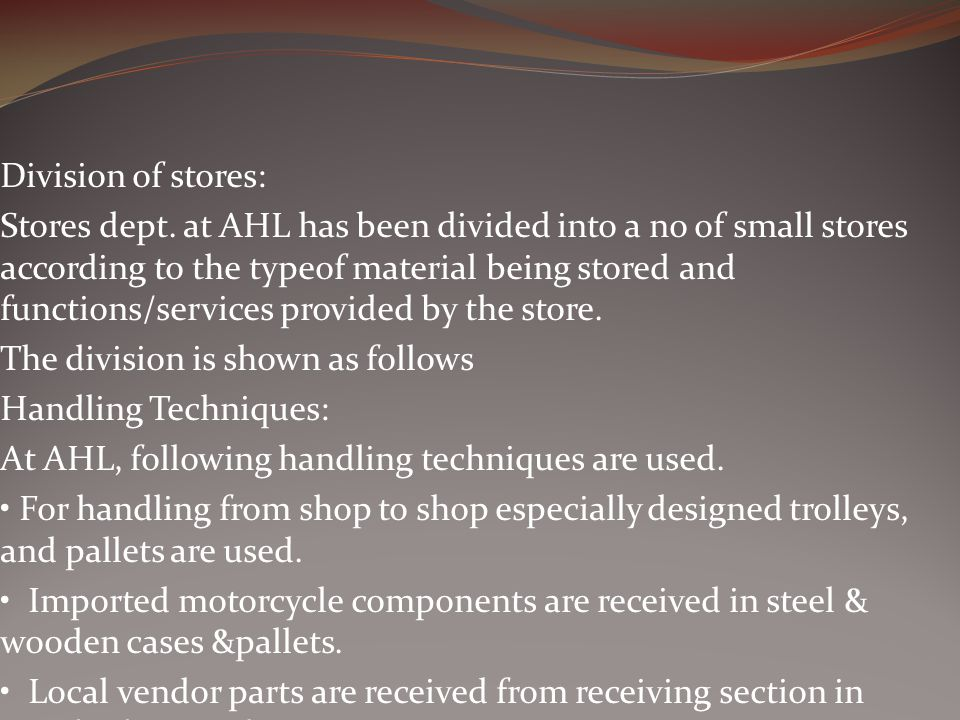 Division of stores: