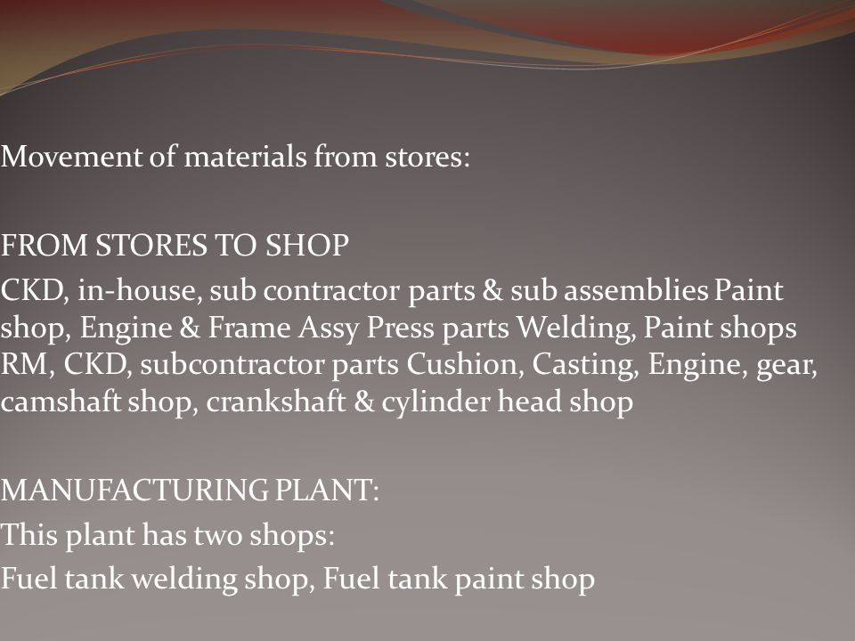 Movement of materials from stores: