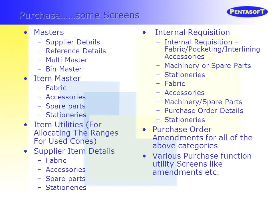 Purchase……some Screens