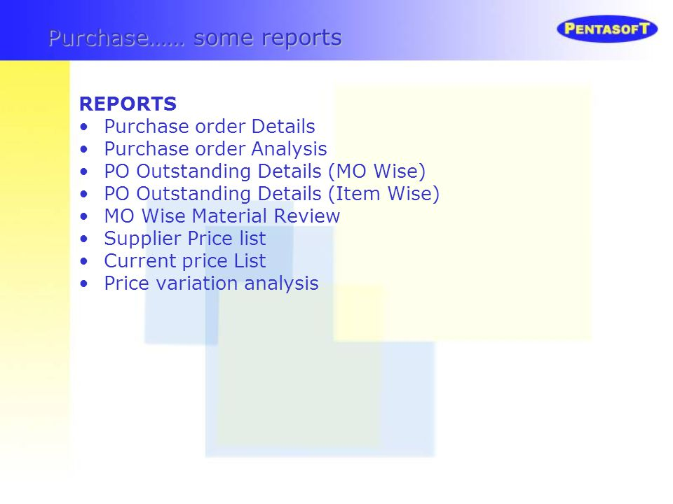 Purchase…… some reports