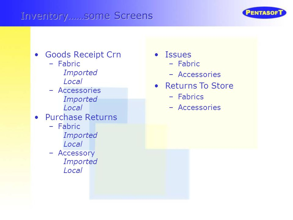 Inventory……some Screens