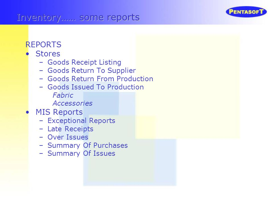 Inventory…… some reports