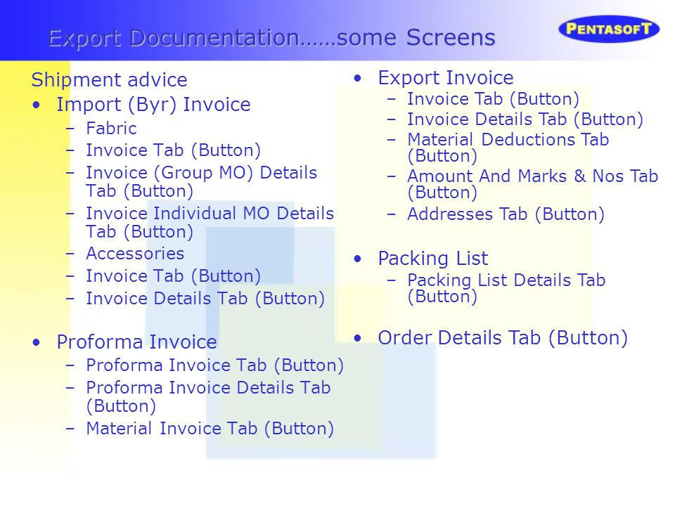 Export Documentation……some Screens