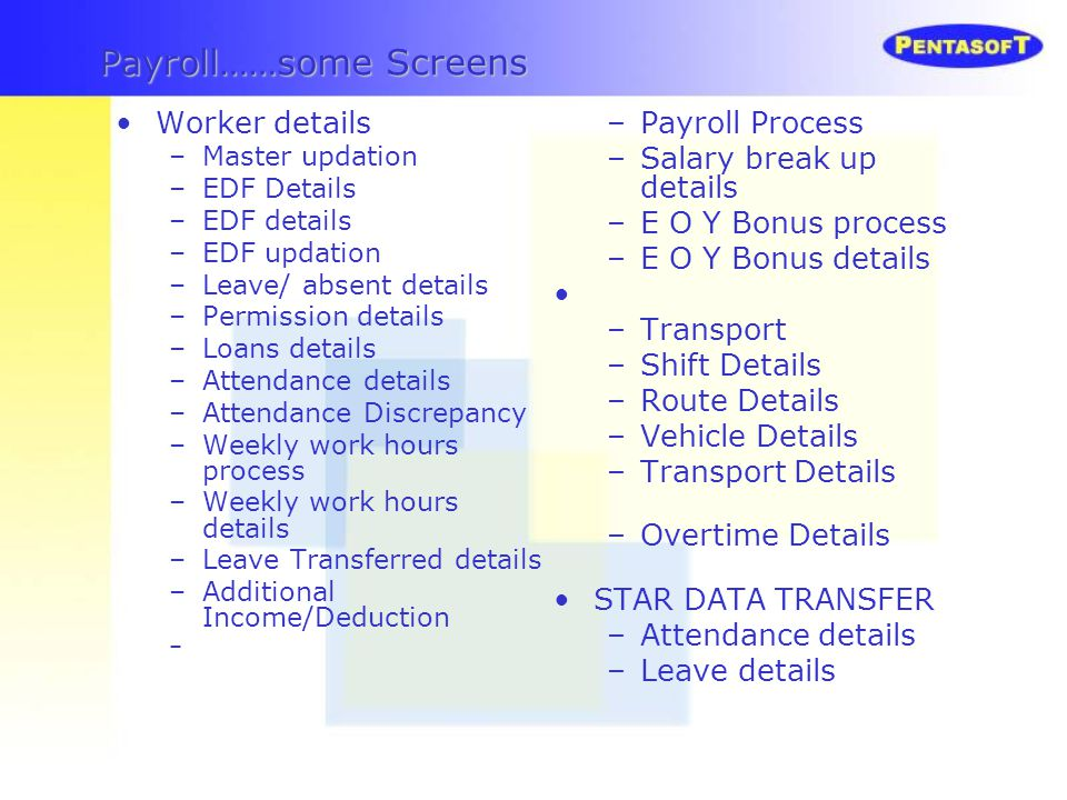 Payroll……some Screens
