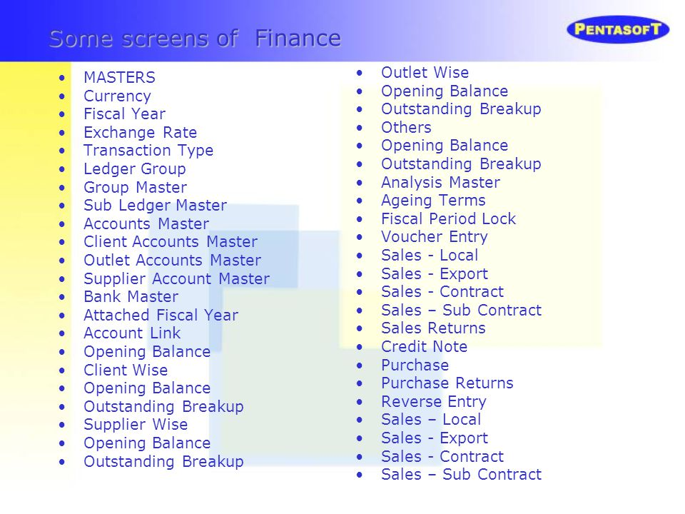 Some screens of Finance