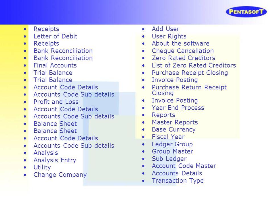 Receipts Letter of Debit. Bank Reconciliation. Final Accounts. Trial Balance. Account Code Details.