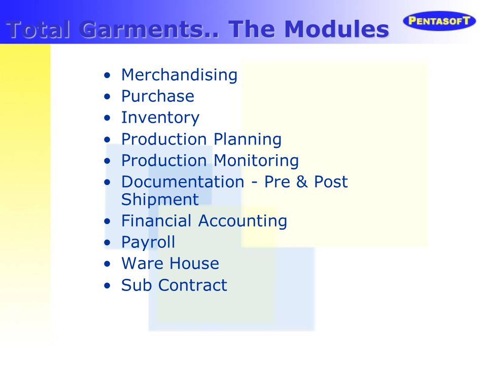 Total Garments.. The Modules