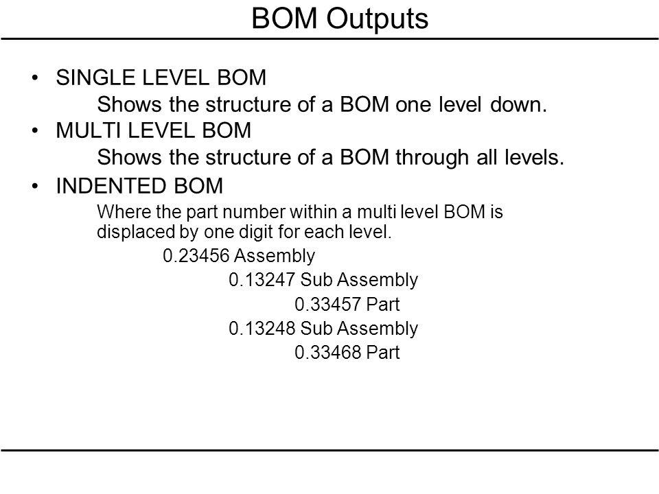 BOM Outputs SINGLE LEVEL BOM