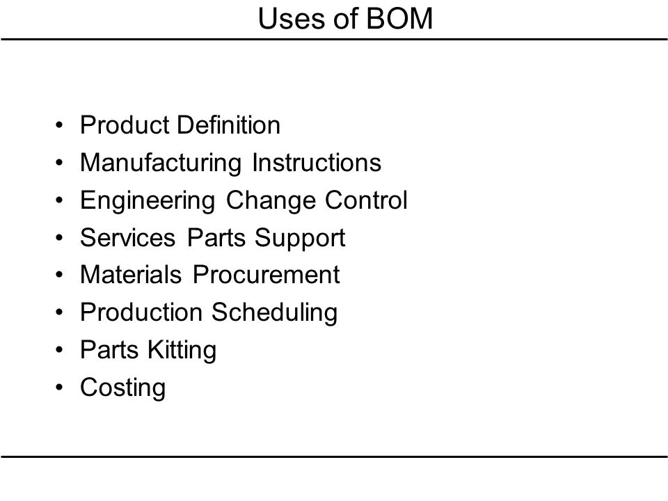 Uses of BOM Product Definition Manufacturing Instructions