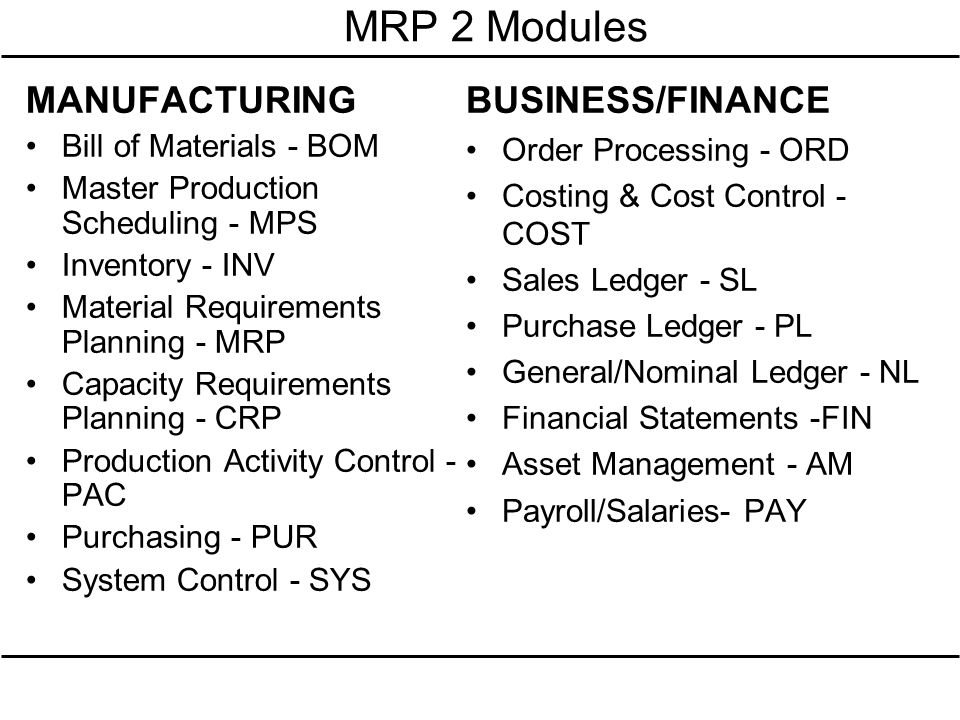 MRP 2 Modules MANUFACTURING BUSINESS/FINANCE Bill of Materials - BOM