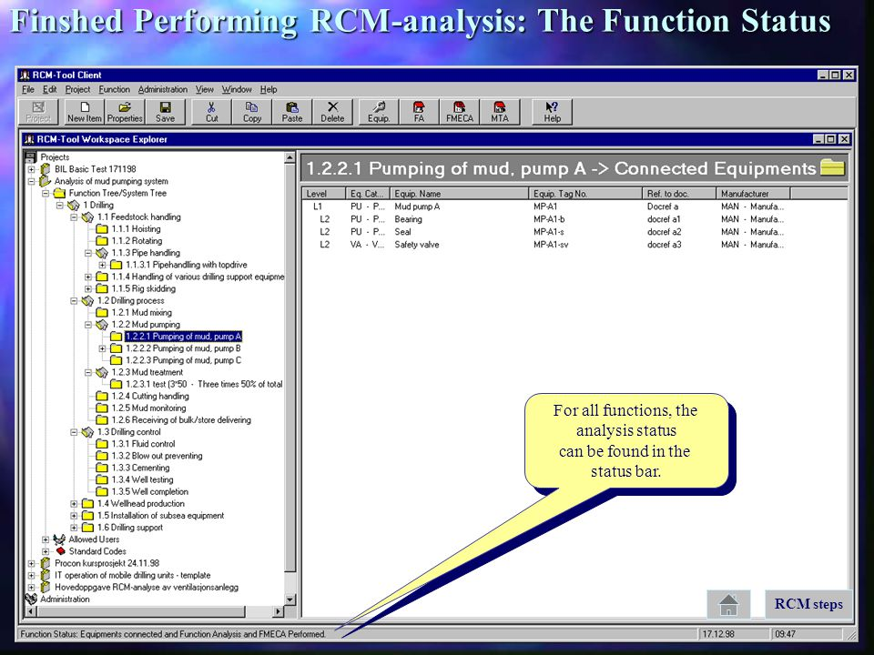 Finshed Performing RCM-analysis: The Function Status
