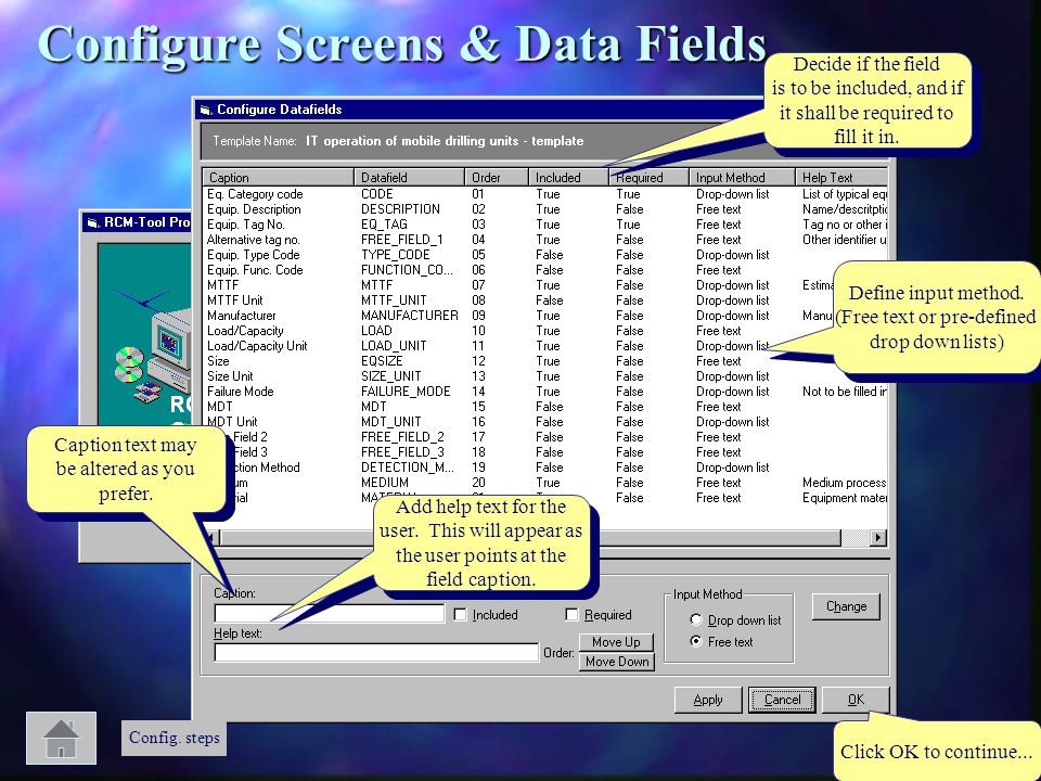 Configure Screens & Data Fields