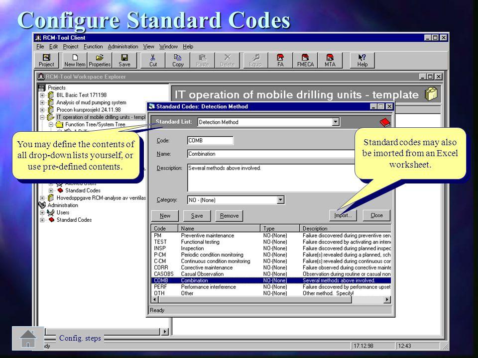 Configure Standard Codes